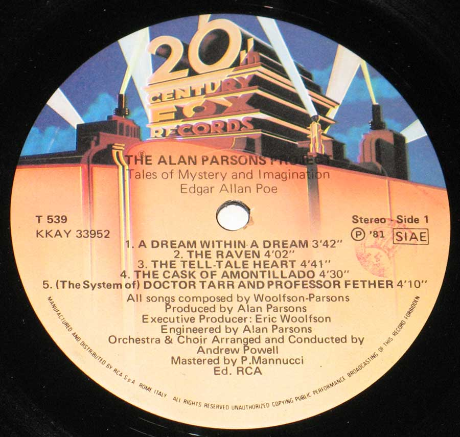 Close up of record's label ALAN PARSONS PROJECT - Tales of Mystery and Imagination Edgar Allan Poe Side One