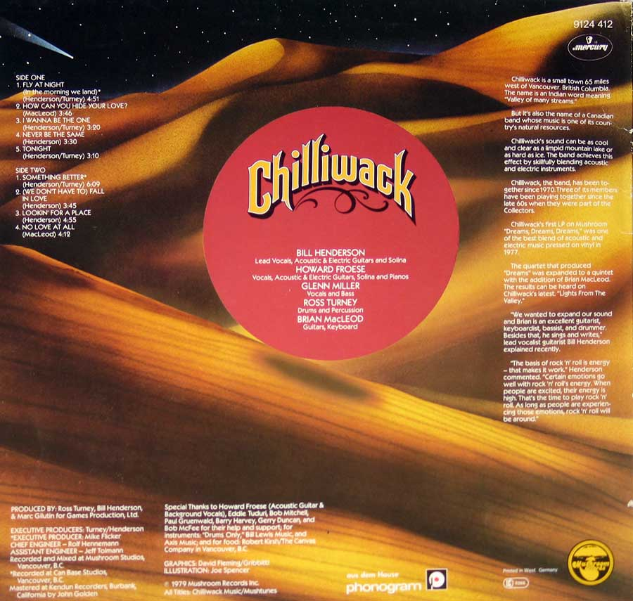 "CHILLIWACK - Lights from the Valley, Mushroom Records 12"" VINYL LP ALBUM back cover"
