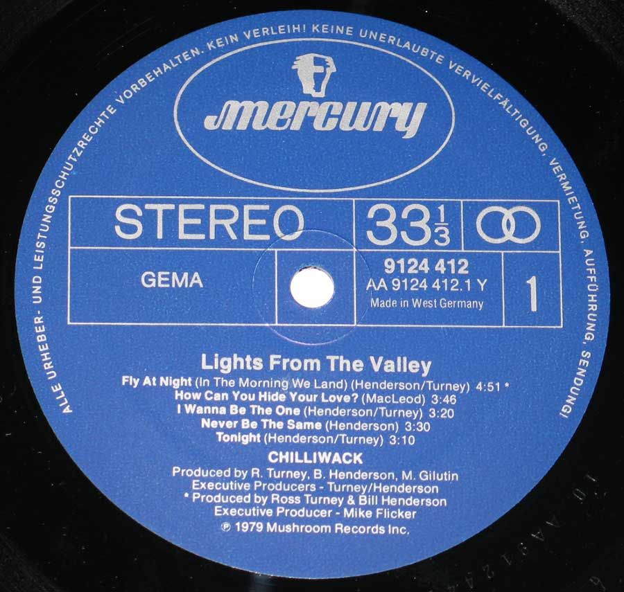 """Lights from the Valley"" Blue Colour Mercury with rim-text in German Record Label Details: AA MERCURY 9124 412, Made in West Germany ℗ 1979 Mushroom Records Inc, Sound Copyright"