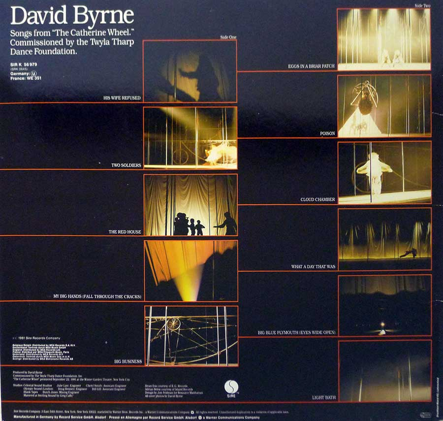 "Photo of album back cover DAVID BYRNE - The Catherine Wheel 12"" LP Vinyl Album"