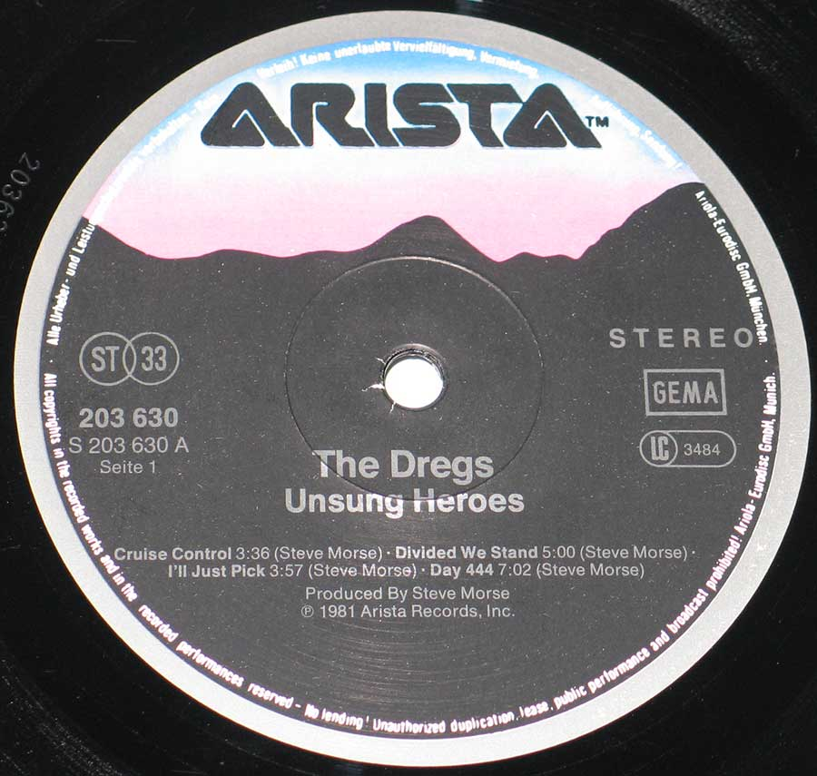 "Close up of record's label THE DREGS - Unsung Heroes 12"" VINYL LP ALBUM Side One"