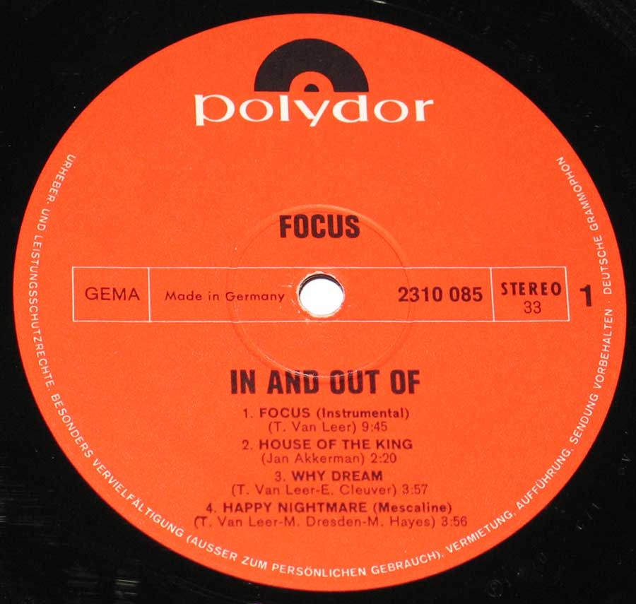 """In And Out Of Focus"" Red Colour Polydor Record Label Details: Polydor 2310 085"