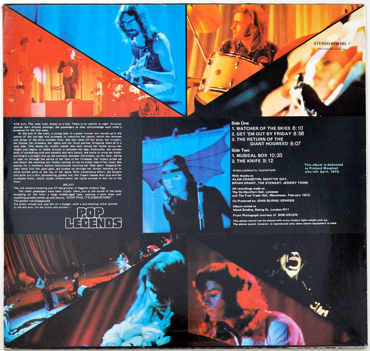 Photo Of The Back Cover GENESIS - Live ( 1973 )