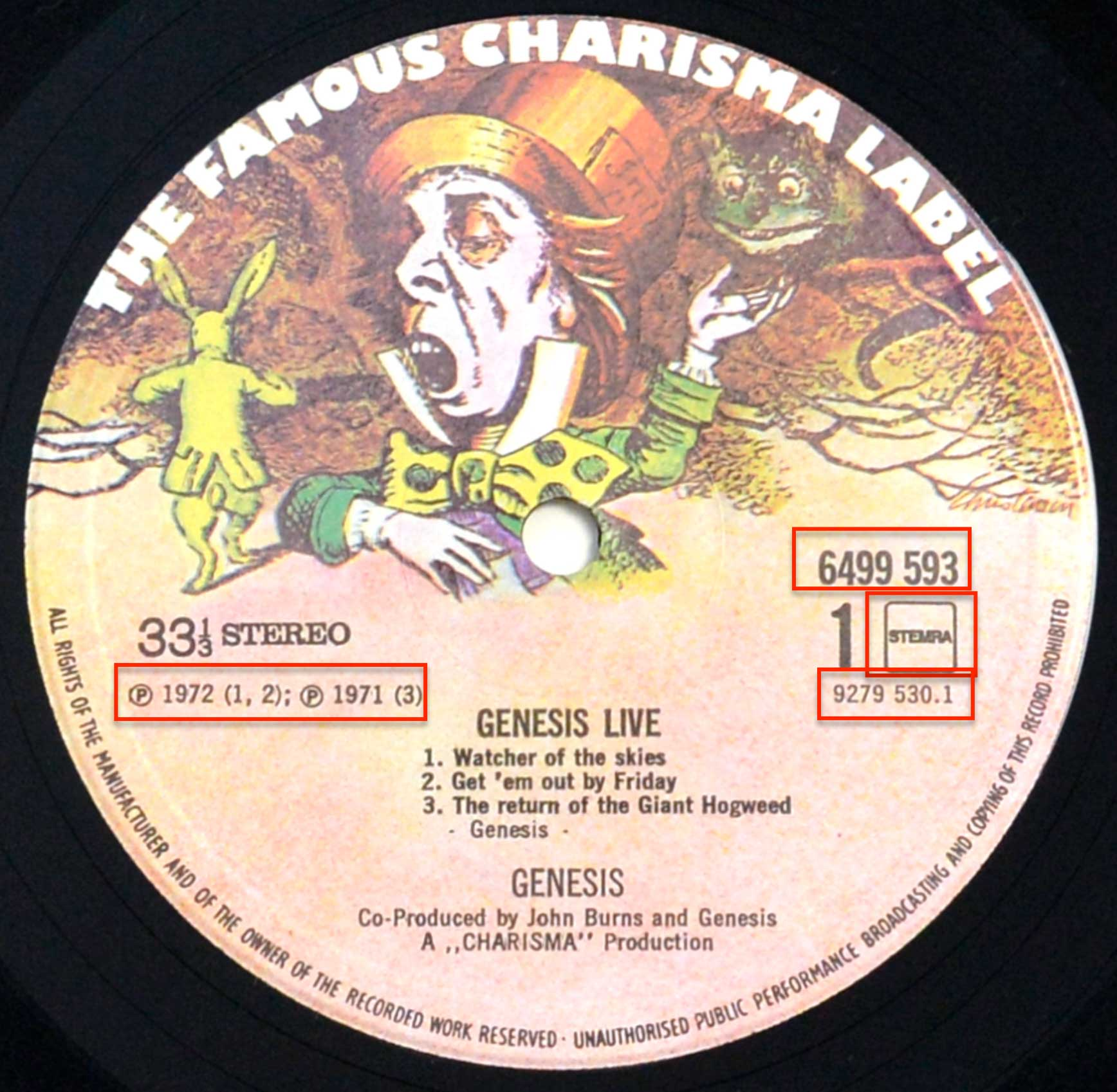"Close up of the ""Charisma"" record's label"