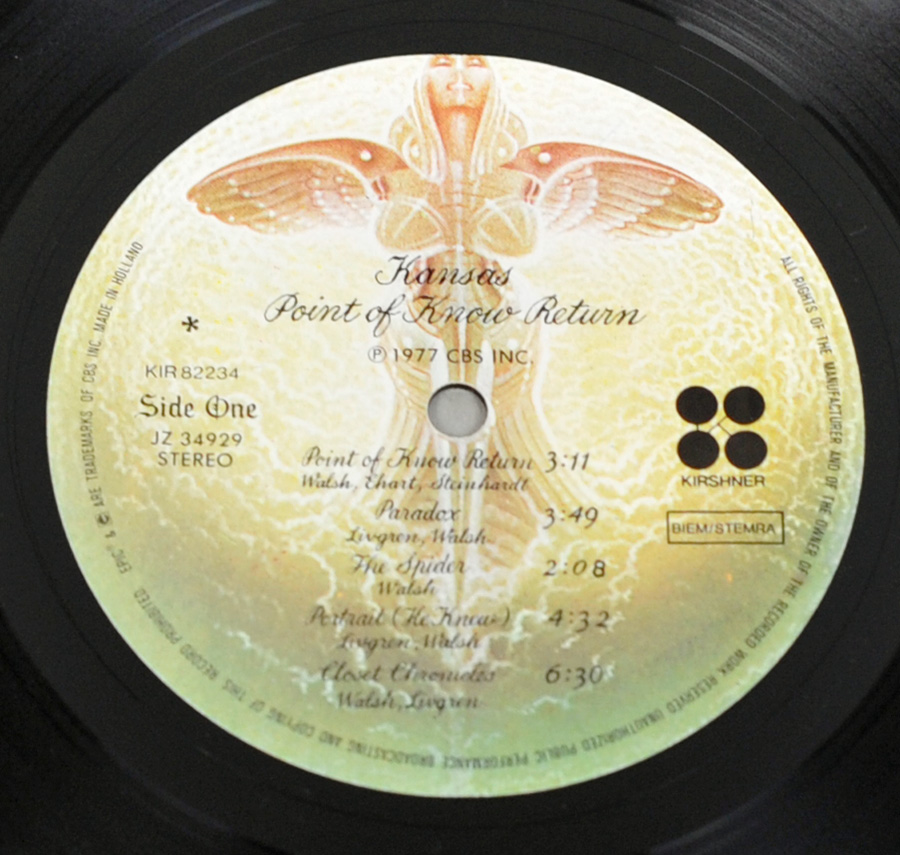 "Photo of ""KANSAS - Point of Know Return"" 12"" LP Record - Side One:"