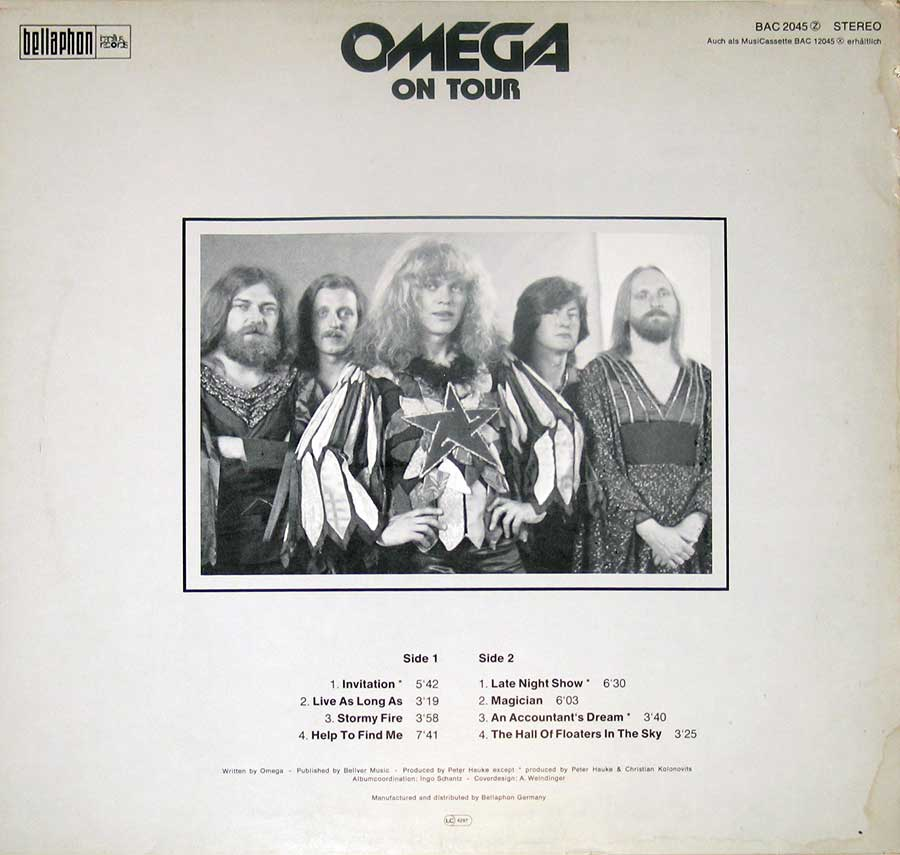 "Photo of album back cover OMEGA - On Tour 12"" Vinyl LP Album"