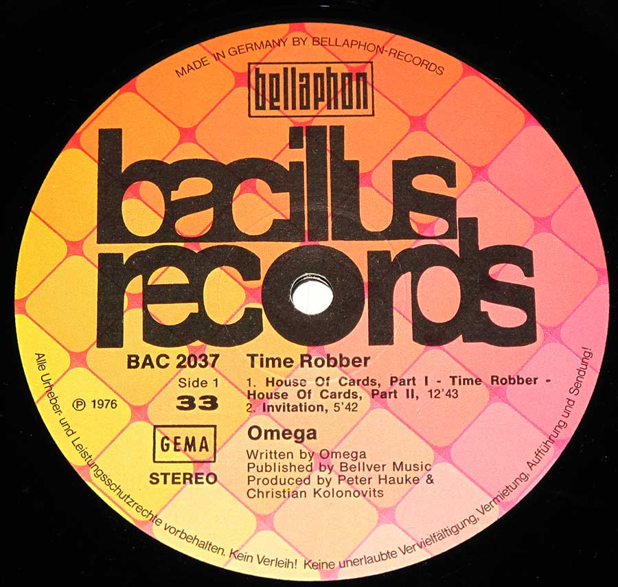 """Time Robber"" Record Label Details: Bellaphon Bacilus Records BAC 2037, Made in Germany ℗ 1976Sound Copyright"