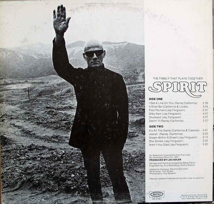 "Photo of album back cover SPIRIT - The Family That Plays Together 12"" LP Vinyl Album"