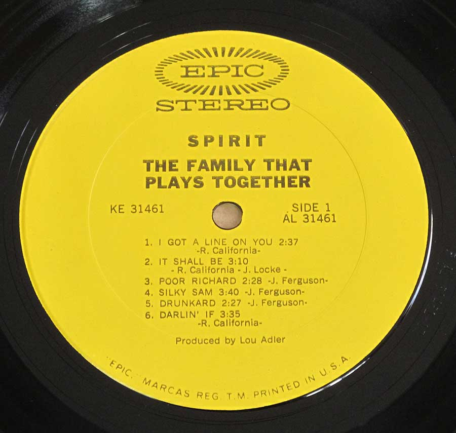 "Close up of record's label SPIRIT - The Family That Plays Together 12"" LP Vinyl Album Side One"