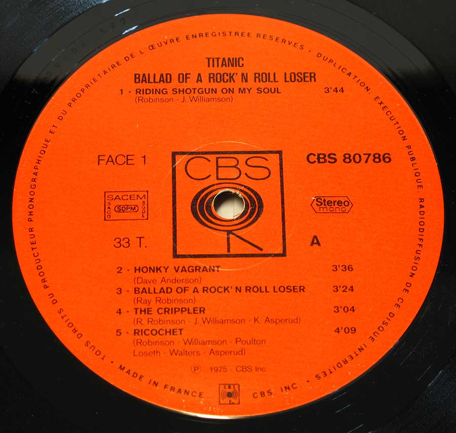 "Close up ""Ballad Of A Rock 'N' Roll Loser"" CBS Walking Eye logo around spindle hole Record Label Details: CBS 80786 , Made in France, SACEM"