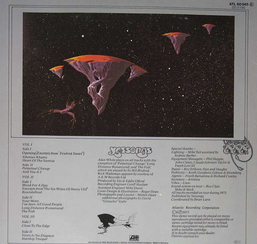 Photo of album back cover YES - Yessongs