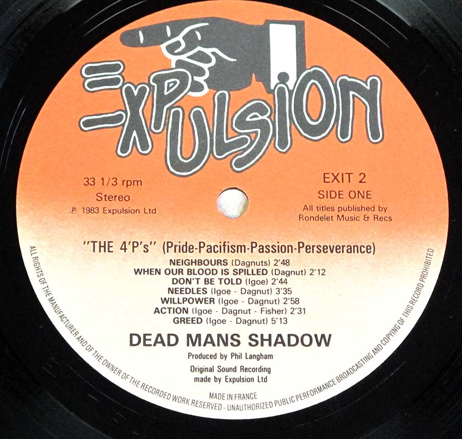 "Close up of record's label DEAD MAN'S SHADOW - The 4P's Pride Pacifism Passion Perseverance Boppin' Bob 12"" LP Vinyl Album Side One"