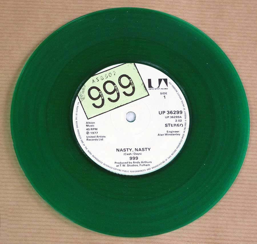 "999 - Nasty Nasty / No Pity Green Vinyl 7"" 45RPM PS SINGLE VINYL  vinyl lp record"