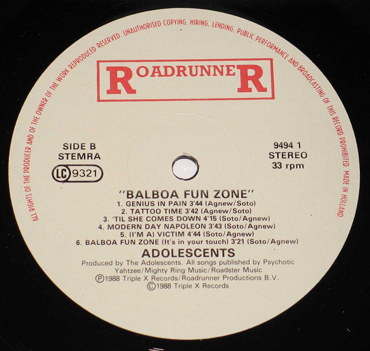 High Resolution Photo of the enlarged label ADOLESCENTS - Balboa Fun Zone https://vinyl-records.nl