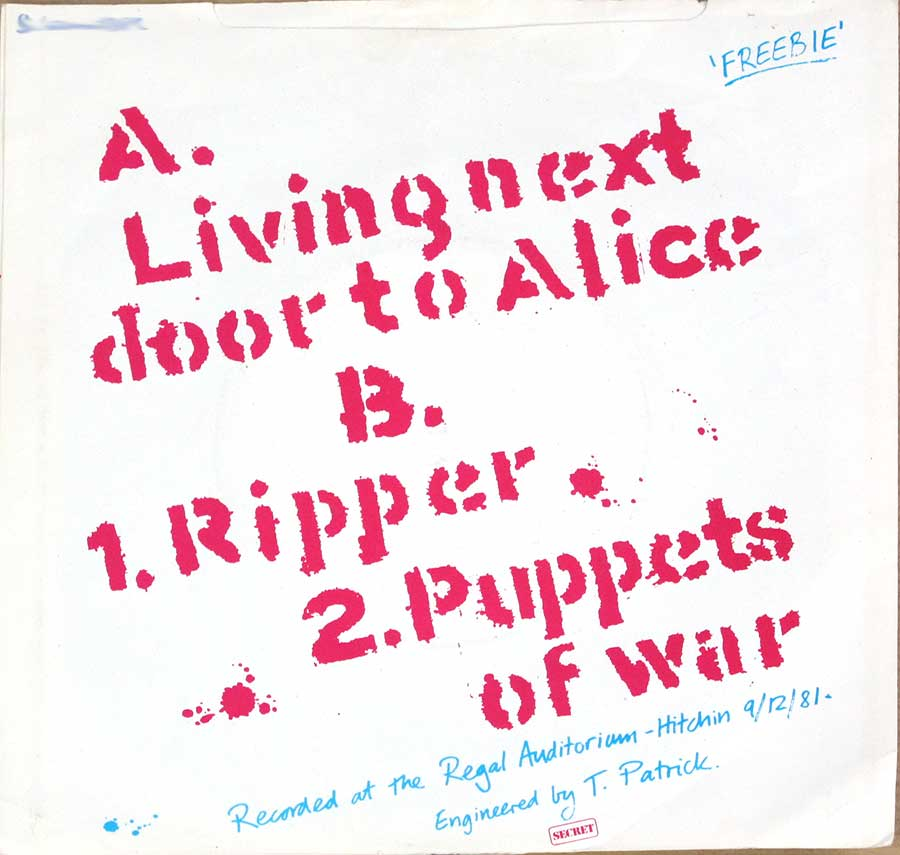 "CHRON GEN - Free Live Ep / Live Next Door To Alice / Ripper / Puppets Of War 7"" PS SINGLE VINYL back cover"