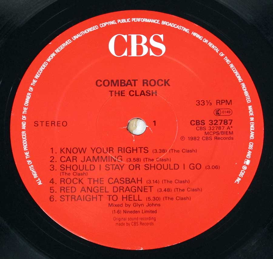 """Combat Rock"" Red Colour CBS Record Label Details: CBS 32787 ℗ 1982 CBS Records Sound Copyright"