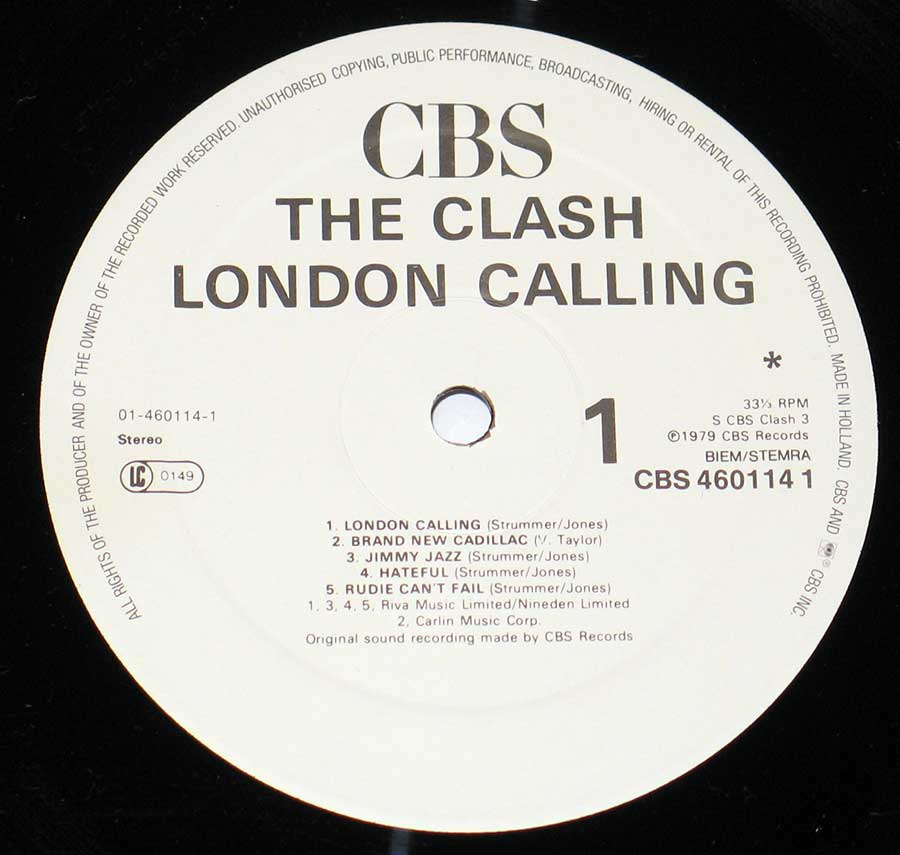 """London Calling"" Record Label Details: White Label CBS 460114 ℗ 1979 CBS Records Sound Copyright"