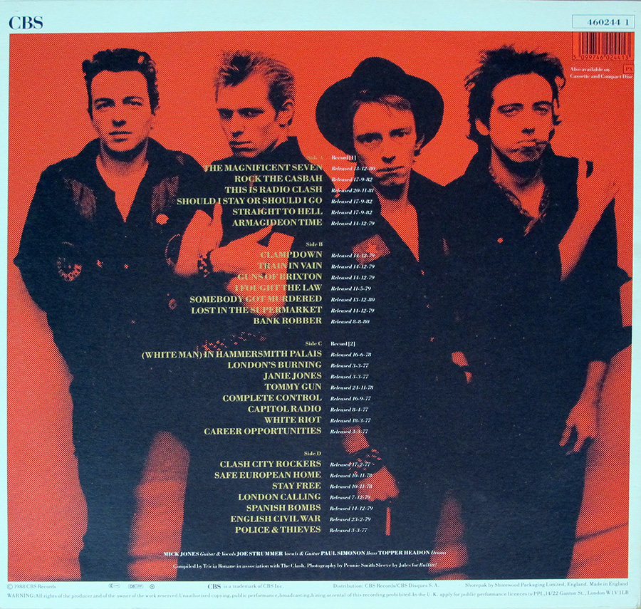 "Photo of album back cover THE CLASH - Story Of The Clash Volume 1 12"" Vinyl LP Album"