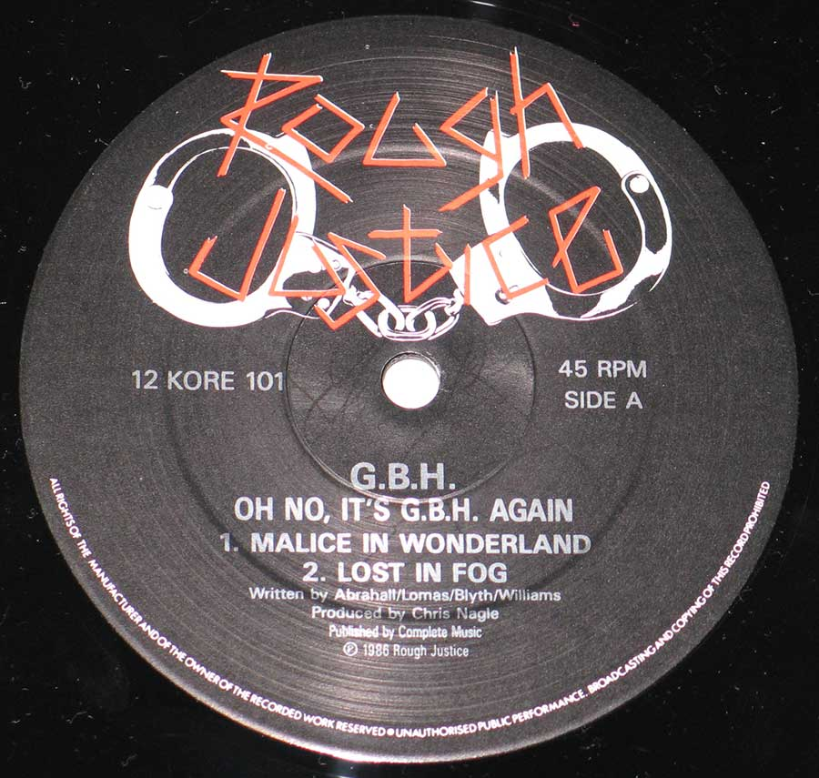 Photo of record label of G.B.H - Oh No It's G.B.H Again