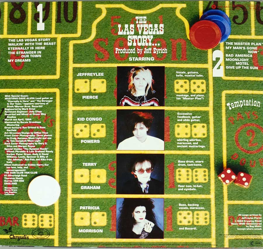 "GUN CLUB - The Las Vegas Story Animal Records 12"" LP VINYL ALBUM album back cover"