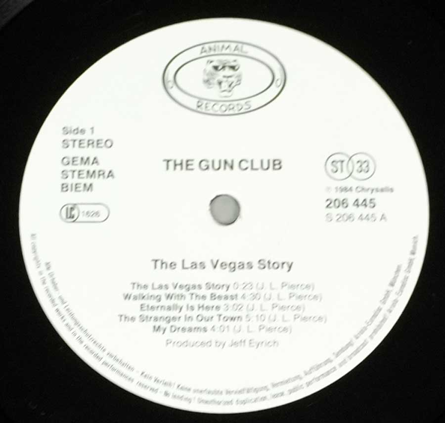 "GUN CLUB - The Las Vegas Story Animal Records 12"" LP VINYL ALBUM enlarged record label"