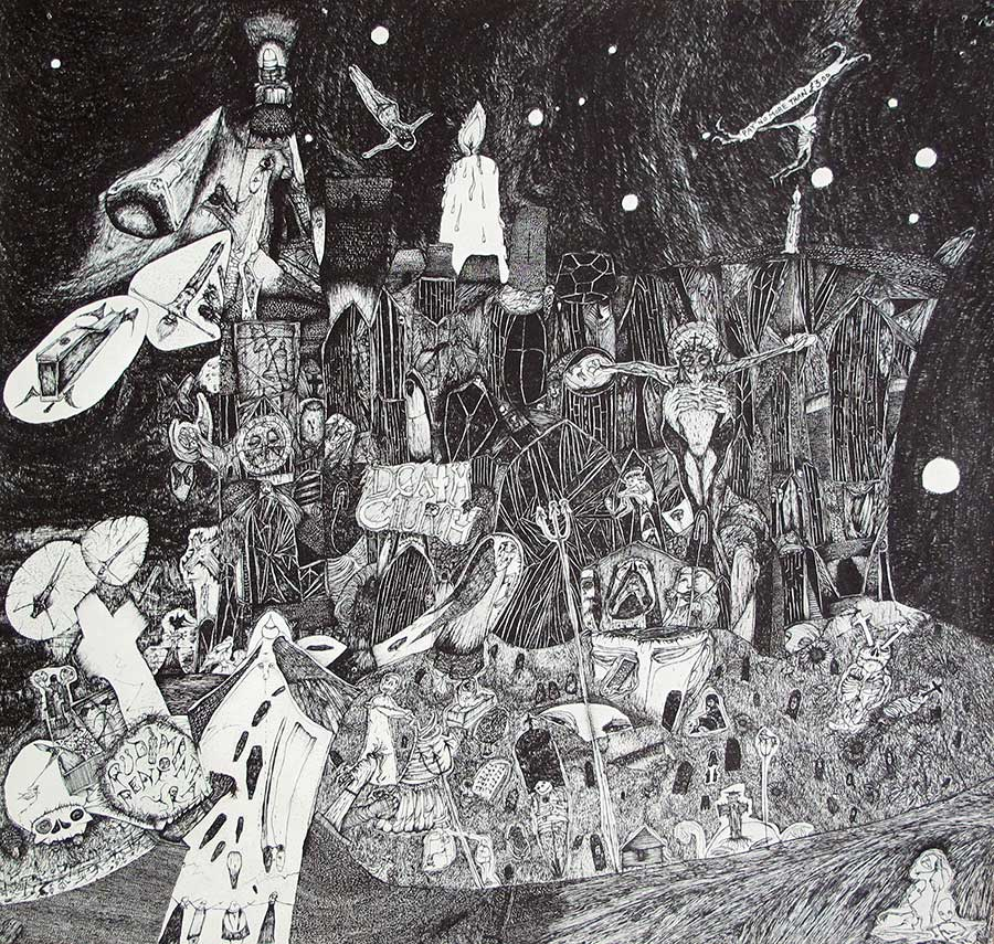 "RUDIMENTARY PENI - Death Church Fold Out Paper Cover + Insert 12"" LP VINYL album front cover"