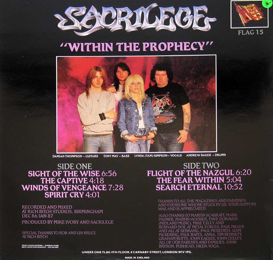 Photo of album back cover SACRILEGE - Within the Prophecy