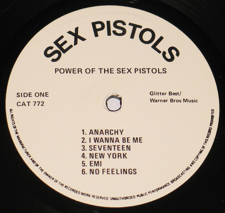 """Power Of The Sex Pistols"" Record Label Details: 77 Records CAT 772 / Glitter Best Music"