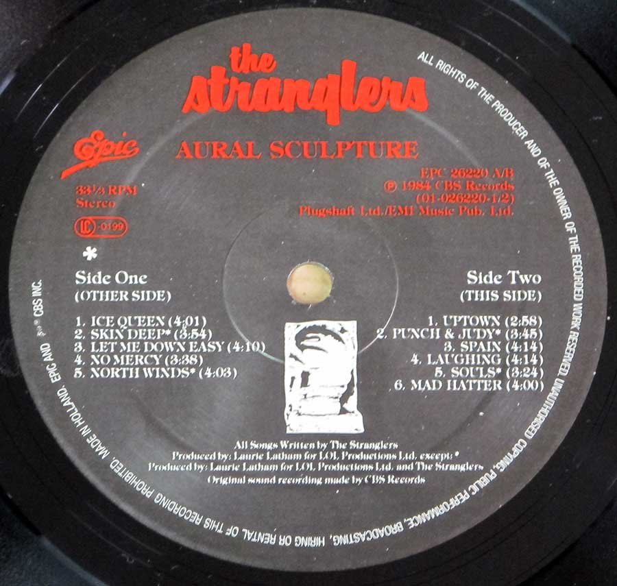 "Side Two Close up of record's label STRANGLERS - Aural Sculpture 12"" LP VINYL ALBUM"