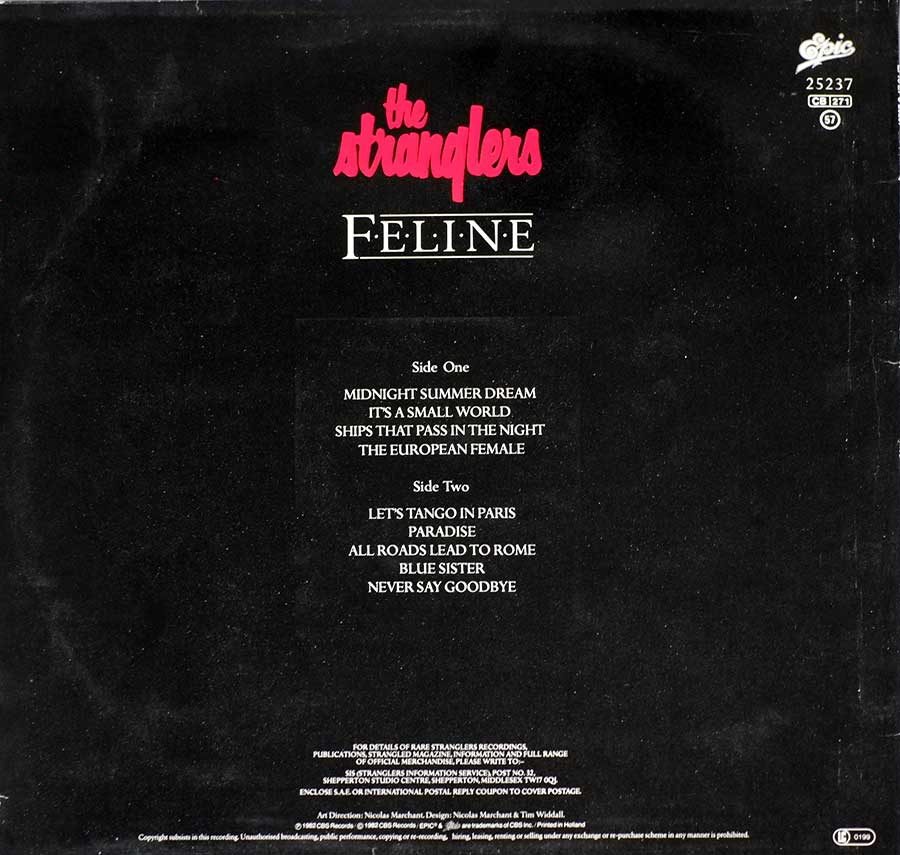 "STRANGLERS - Feline - Punk Rock, New Wave 12"" LP Vinyl Album back cover"