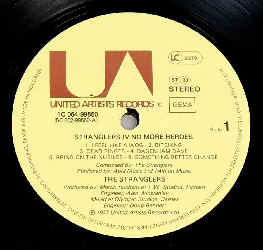 Close up of record's label STRANGLERS - No More Heroes Side One