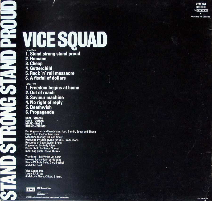 "VICE SQUAD  Stand Strong Stand Proud Orig Zem 12"" LP VINYL ALBUM  back cover"