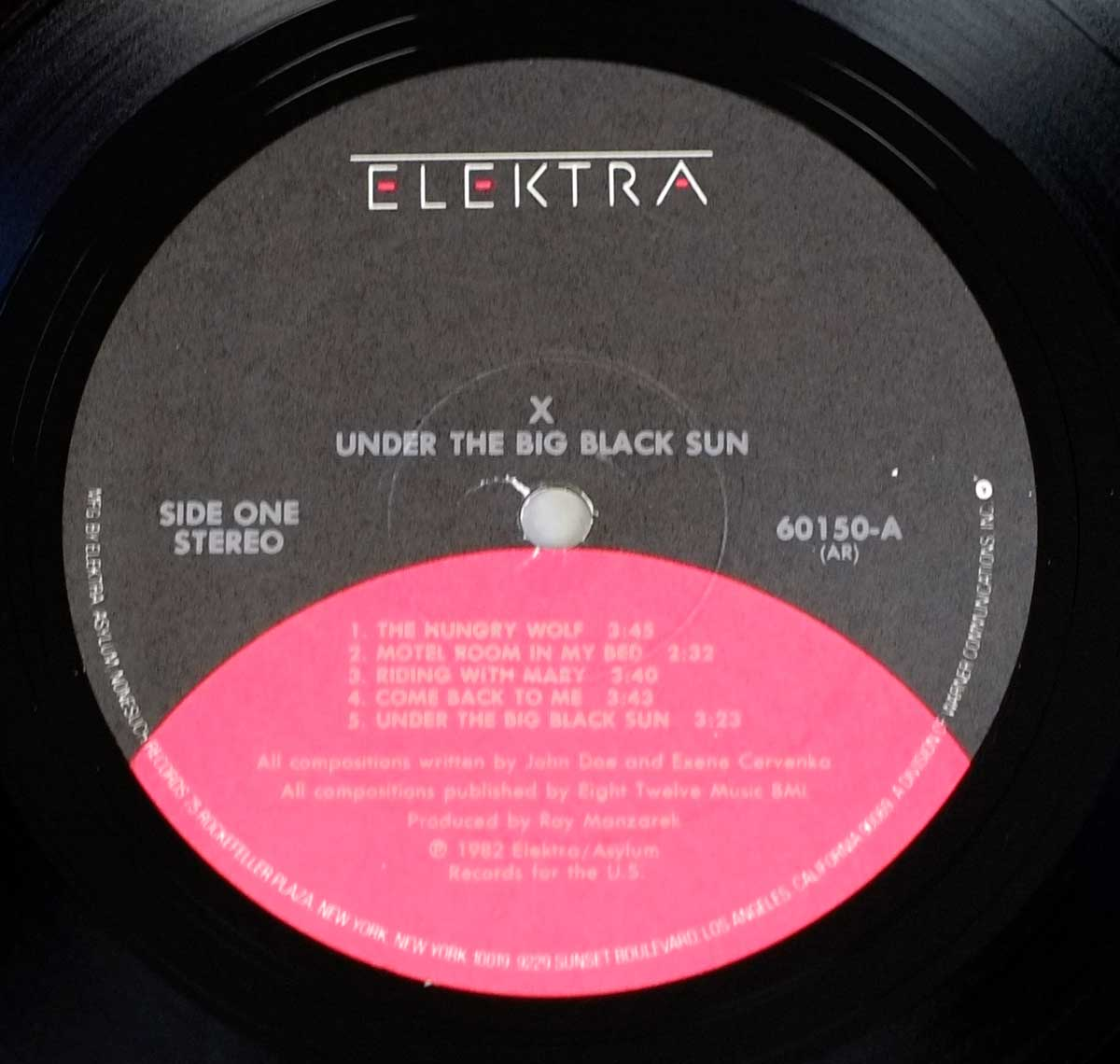 "Photo of ""X - Under The Big Black Sun"" Black / Red Elektra Record Label"