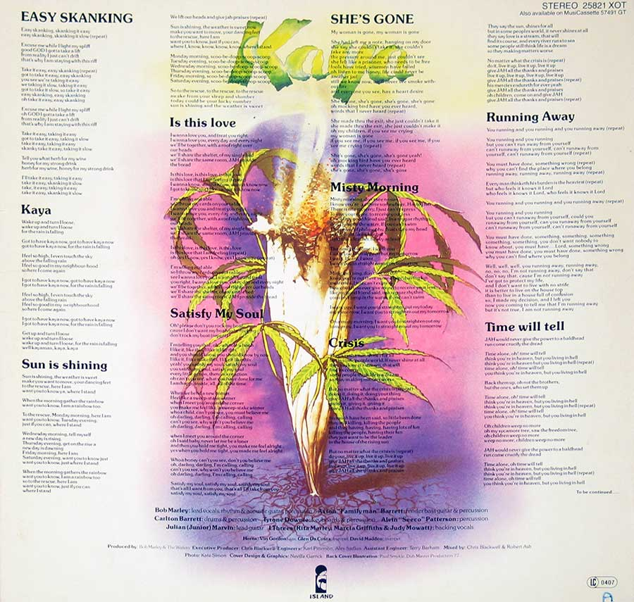 Photo of album back cover BOB MARLEY - Kaya ( Switzerland Release )