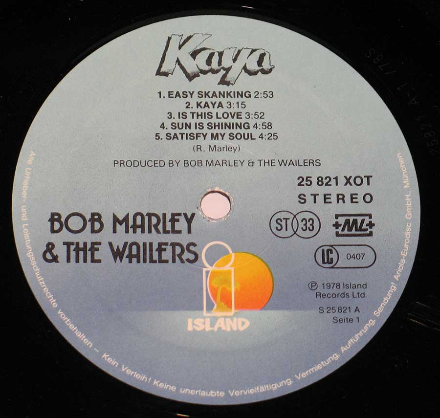 Close up of record's label BOB MARLEY - Kaya ( Switzerland Release ) Side One