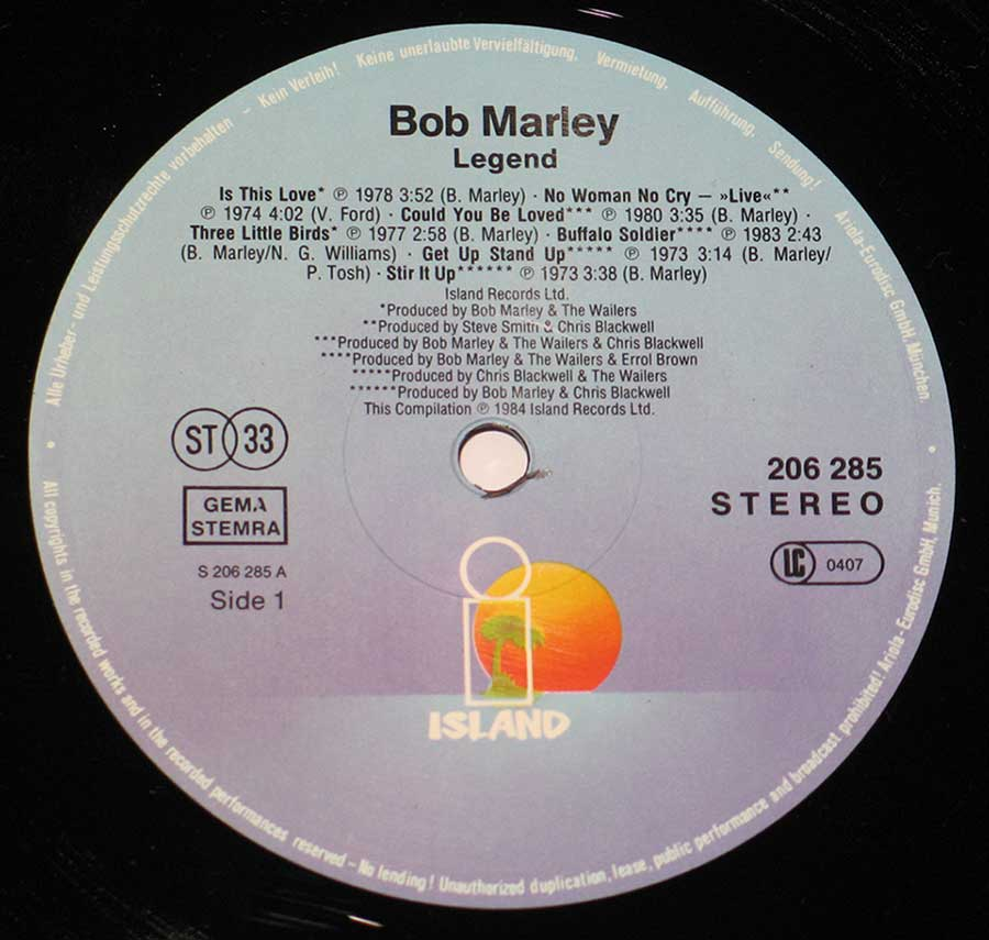 """Legend Best Of Bob Marley And The Wailers ( EEC Release )"" Record Label Details: ISLAND Records 206 285"