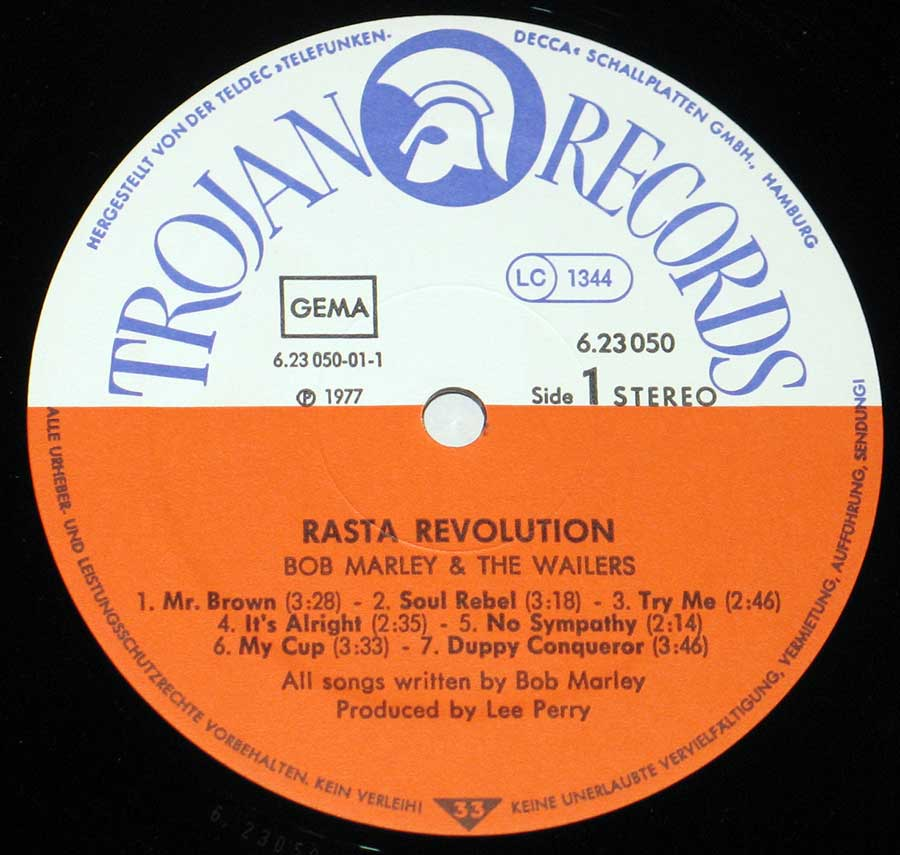 """Rasta Revoluion"" Record Label Details: Trojan Records 6.23 050, LC 1344, GEMA ℗ 1977 Sound Copyright"
