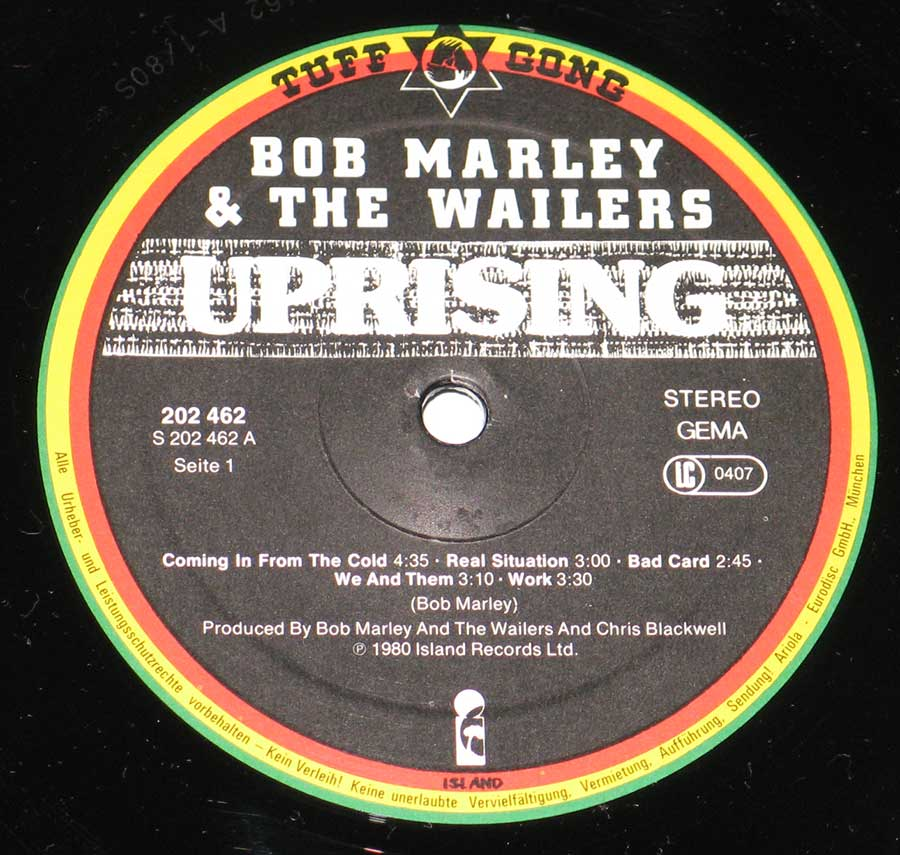 Close up of record's label BOB MARLEY & THE WAILERS - Uprising Side One