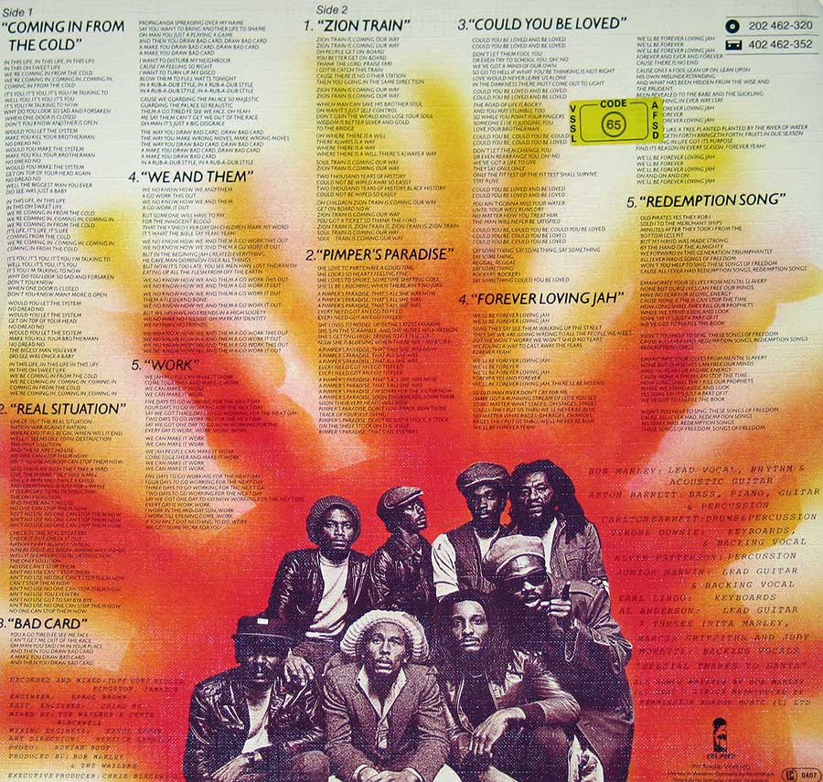 Photo of album back cover BOB MARLEY & THE WAILERS - Uprising