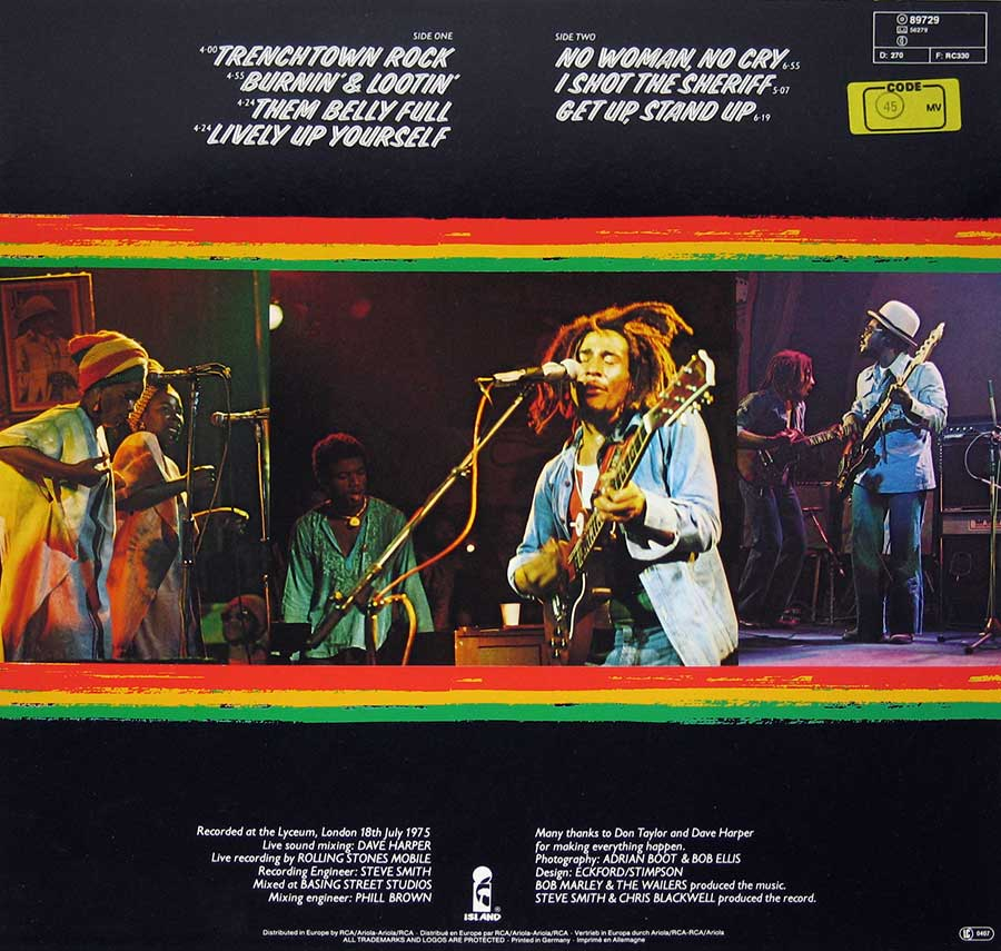 "BOB MARLEY & THE WAILERS - Wailers Live 12"" Vinyl LP Album back cover"