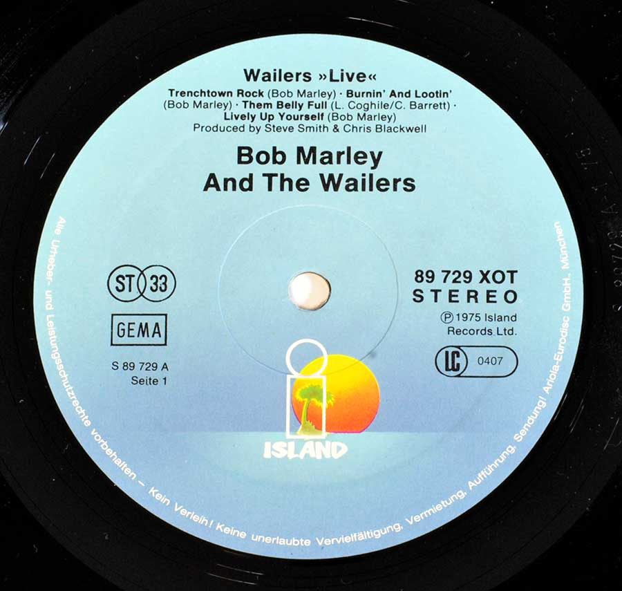 """WAILERS Live"" Record Label Details: Light Blue Colour ISLAND89 729 XOT, LC 0407 ℗ 1975 Island Records Ltd Sound Copyright"