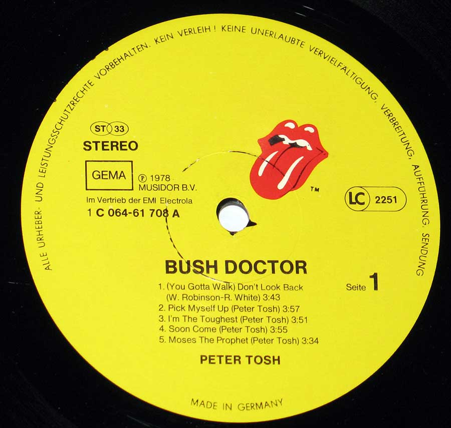 """Bush Doctor "" Record Label Details: Rolling Stones Records 1C 064-61 708 (06461708) , Made in Germany ℗ 1978 Musidoc Sound Copyright"