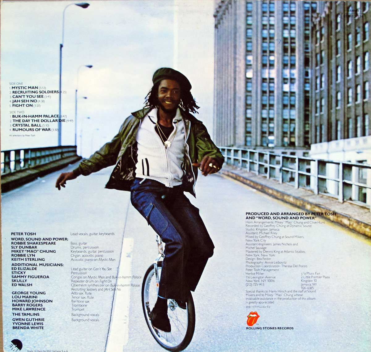 Photo Of Peter Tosh Riding A Unicycle On The Back Cover Peter Tosh - Mystic Man ( Italy )