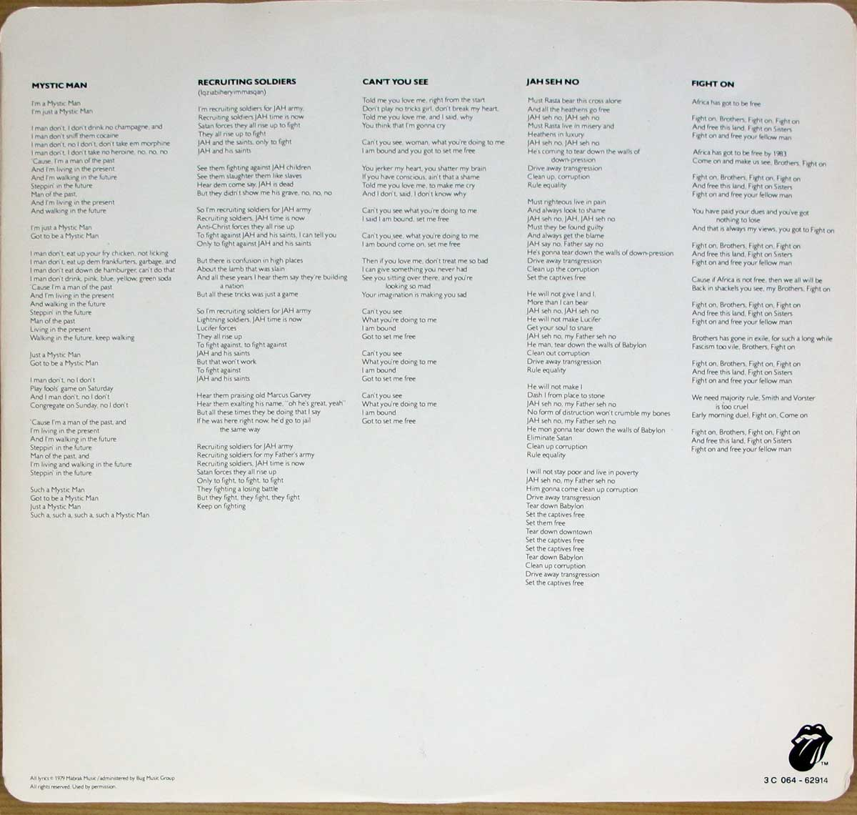 Photo of custom inner sleeve cover PETER TOSH - Mystic Man ( Italy )