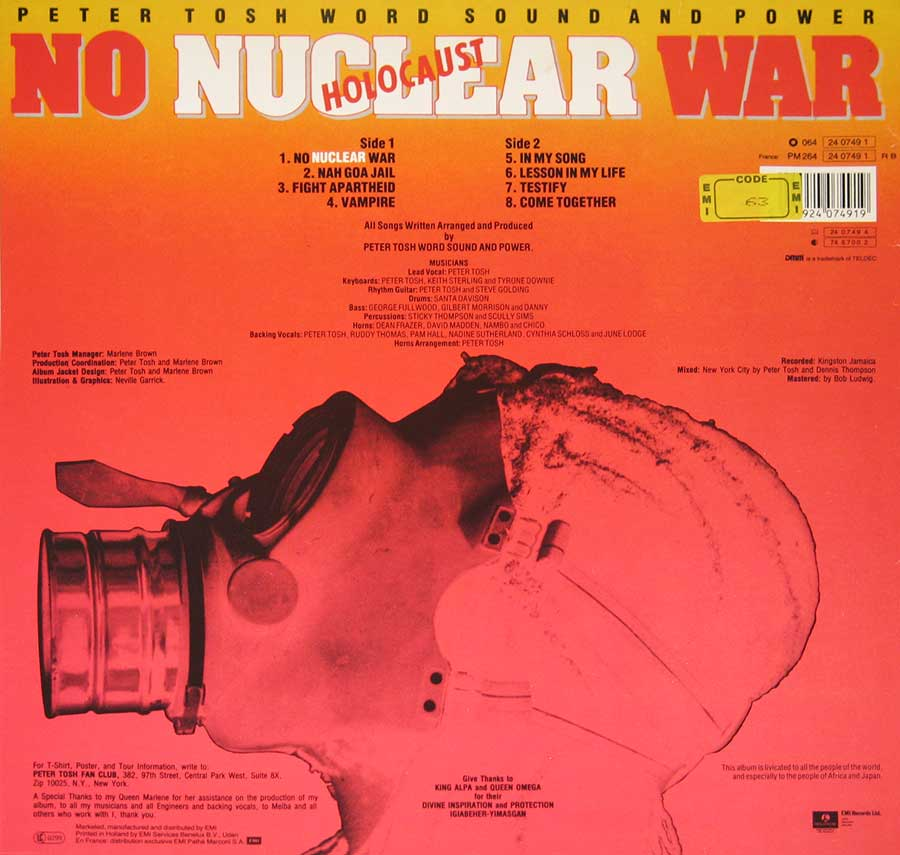 "PETER TOSH - No Nuclear War 12"" VINYL LP ALBUM back cover"