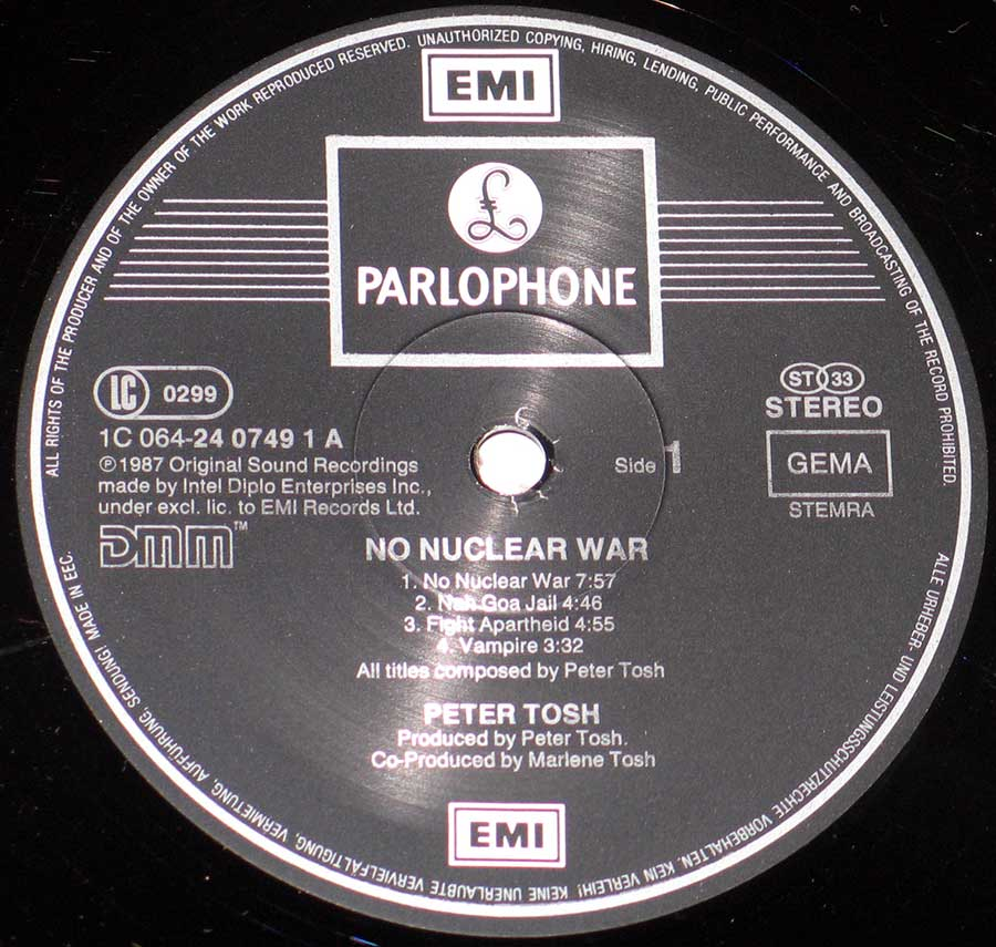 """No Nuclear War"" Black Colour EMI Parlophone Record Label Details: EMI Parlophone 1C 064-24 0748 1m LC 0299"
