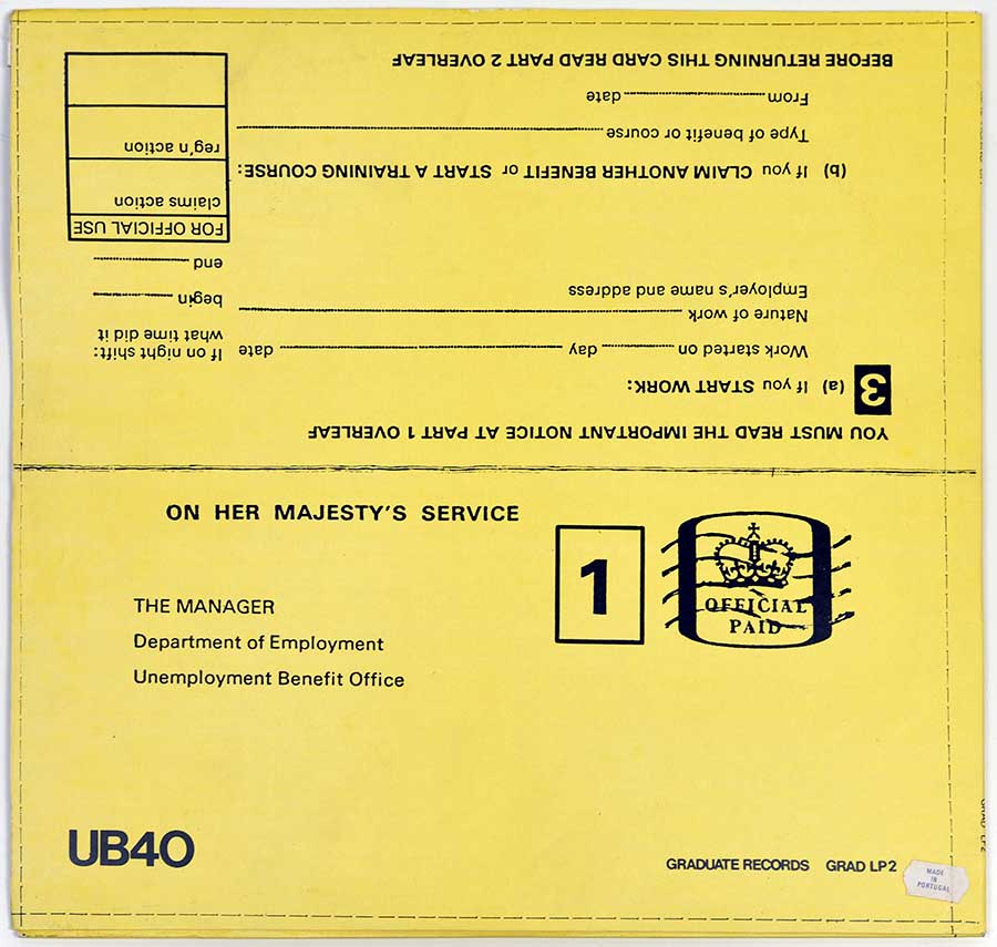 Large Hires Photo Of The Back Cover UB40 Signing Off