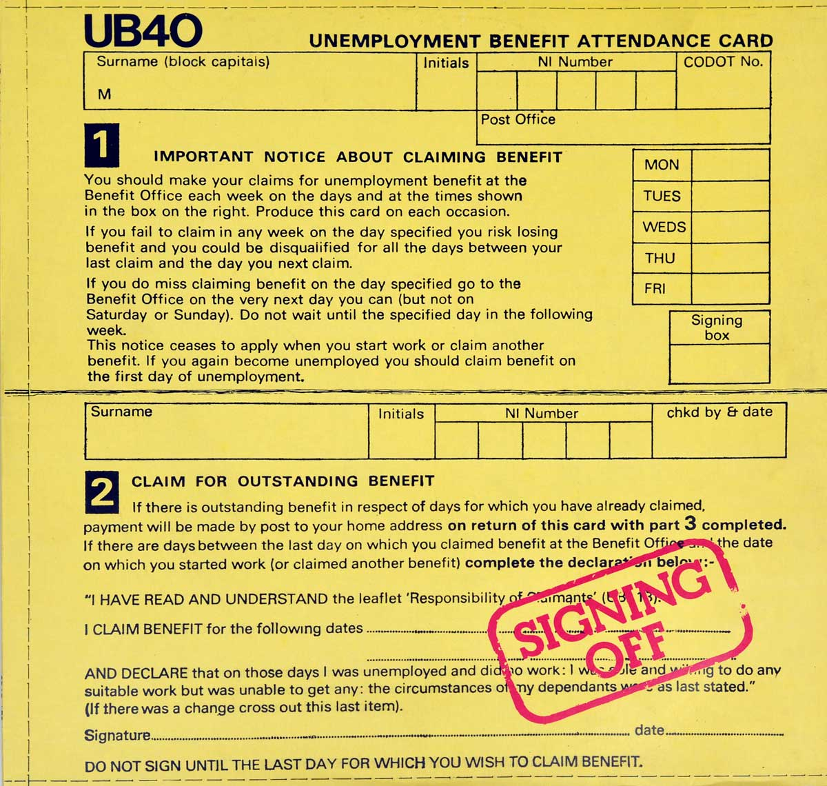 Album Front Cover Photo of UB40 Signing Off