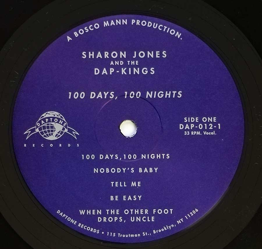 Close up of record's label SHARON JONES & THE DAP-KINGS 100 Days, 100 Nights Side One