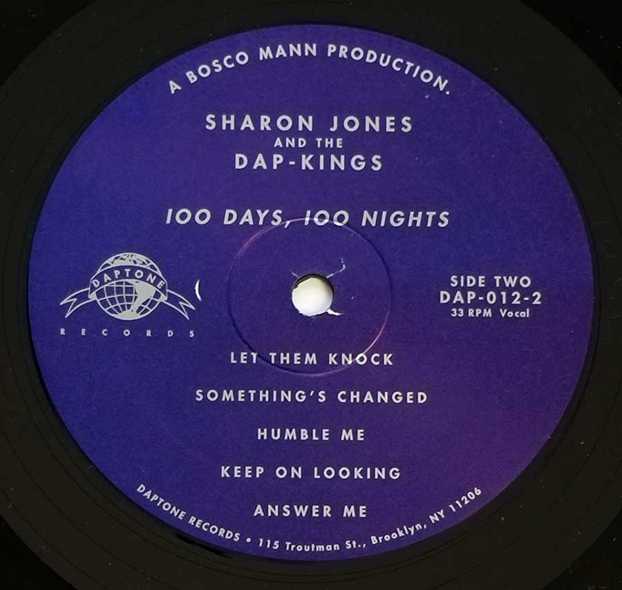 Close up of record's label SHARON JONES & THE DAP-KINGS 100 Days, 100 Nights Side Two